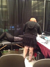 Sassy laying down getting ready to be pierced by Karla